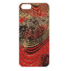 Red Gold Black Background Apple iPhone 5 Seamless Case (White)