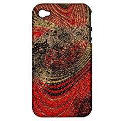 Red Gold Black Background Apple iPhone 4/4S Hardshell Case (PC+Silicone)