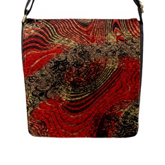 Red Gold Black Background Flap Messenger Bag (L)