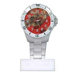 Red Gold Black Background Plastic Nurses Watch