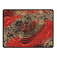 Red Gold Black Background Double Sided Fleece Blanket (Small)