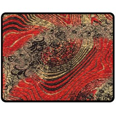 Red Gold Black Background Double Sided Fleece Blanket (Medium)