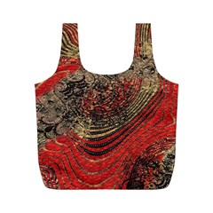 Red Gold Black Background Full Print Recycle Bags (M)