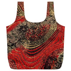 Red Gold Black Background Full Print Recycle Bags (L)