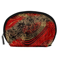 Red Gold Black Background Accessory Pouches (Large)
