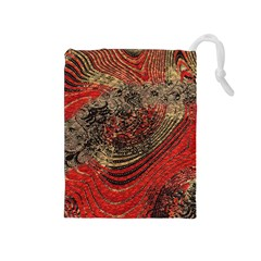 Red Gold Black Background Drawstring Pouches (Medium)