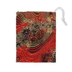 Red Gold Black Background Drawstring Pouches (Large)