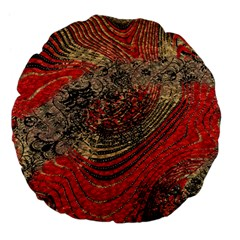 Red Gold Black Background Large 18  Premium Flano Round Cushions