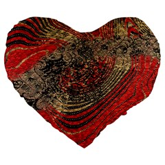 Red Gold Black Background Large 19  Premium Flano Heart Shape Cushions