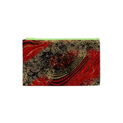 Red Gold Black Background Cosmetic Bag (XS)