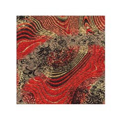 Red Gold Black Background Small Satin Scarf (square)