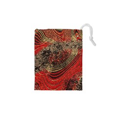Red Gold Black Background Drawstring Pouches (xs)