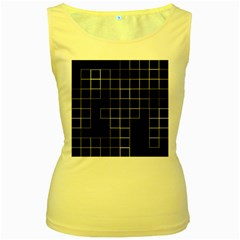 Abstract Clutter Women s Yellow Tank Top