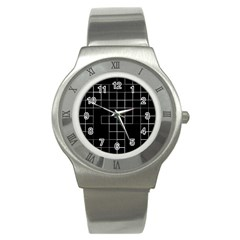 Abstract Clutter Stainless Steel Watch