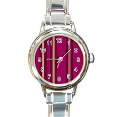 Stripes Background Wallpaper In Purple Maroon And Gold Round Italian Charm Watch