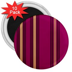 Stripes Background Wallpaper In Purple Maroon And Gold 3  Magnets (10 Pack)