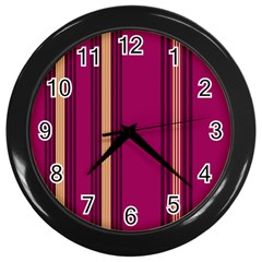 Stripes Background Wallpaper In Purple Maroon And Gold Wall Clocks (black)