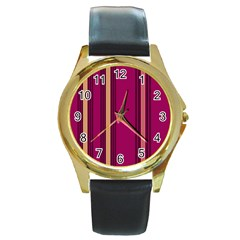 Stripes Background Wallpaper In Purple Maroon And Gold Round Gold Metal Watch