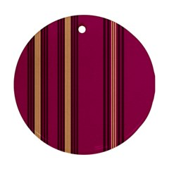 Stripes Background Wallpaper In Purple Maroon And Gold Round Ornament (Two Sides)