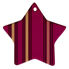 Stripes Background Wallpaper In Purple Maroon And Gold Star Ornament (Two Sides)