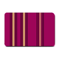 Stripes Background Wallpaper In Purple Maroon And Gold Small Doormat