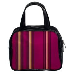 Stripes Background Wallpaper In Purple Maroon And Gold Classic Handbags (2 Sides)