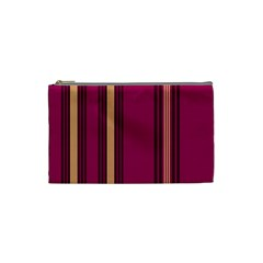 Stripes Background Wallpaper In Purple Maroon And Gold Cosmetic Bag (small)