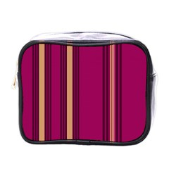 Stripes Background Wallpaper In Purple Maroon And Gold Mini Toiletries Bags