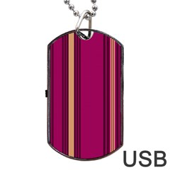Stripes Background Wallpaper In Purple Maroon And Gold Dog Tag USB Flash (One Side)