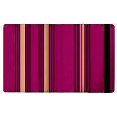 Stripes Background Wallpaper In Purple Maroon And Gold Apple iPad 2 Flip Case