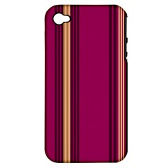 Stripes Background Wallpaper In Purple Maroon And Gold Apple Iphone 4/4s Hardshell Case (pc+silicone)