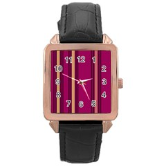 Stripes Background Wallpaper In Purple Maroon And Gold Rose Gold Leather Watch