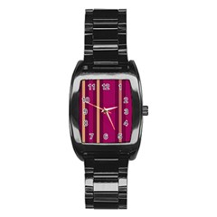 Stripes Background Wallpaper In Purple Maroon And Gold Stainless Steel Barrel Watch
