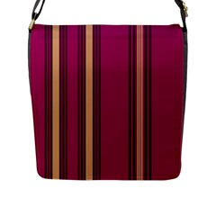 Stripes Background Wallpaper In Purple Maroon And Gold Flap Messenger Bag (l)