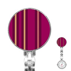 Stripes Background Wallpaper In Purple Maroon And Gold Stainless Steel Nurses Watch