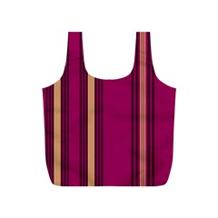 Stripes Background Wallpaper In Purple Maroon And Gold Full Print Recycle Bags (S)