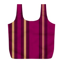Stripes Background Wallpaper In Purple Maroon And Gold Full Print Recycle Bags (L)