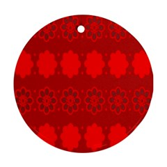 Red Flowers Velvet Flower Pattern Ornament (Round)