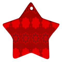 Red Flowers Velvet Flower Pattern Ornament (star)