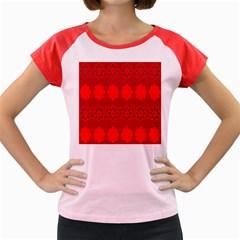Red Flowers Velvet Flower Pattern Women s Cap Sleeve T Shirt