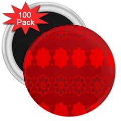 Red Flowers Velvet Flower Pattern 3  Magnets (100 Pack)