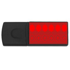 Red Flowers Velvet Flower Pattern Usb Flash Drive Rectangular (4 Gb)