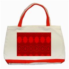 Red Flowers Velvet Flower Pattern Classic Tote Bag (Red)