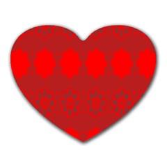 Red Flowers Velvet Flower Pattern Heart Mousepads