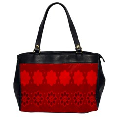 Red Flowers Velvet Flower Pattern Office Handbags