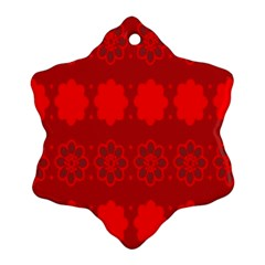 Red Flowers Velvet Flower Pattern Snowflake Ornament (two Sides)