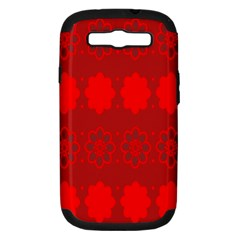 Red Flowers Velvet Flower Pattern Samsung Galaxy S III Hardshell Case (PC+Silicone)