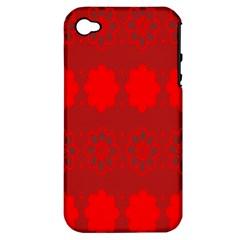 Red Flowers Velvet Flower Pattern Apple iPhone 4/4S Hardshell Case (PC+Silicone)