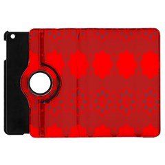 Red Flowers Velvet Flower Pattern Apple iPad Mini Flip 360 Case