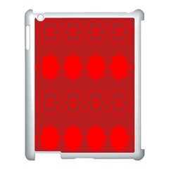 Red Flowers Velvet Flower Pattern Apple iPad 3/4 Case (White)